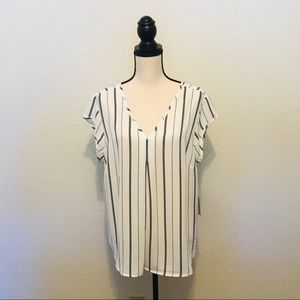 Halogen Double V-Neck Top Ivory Black Stripe